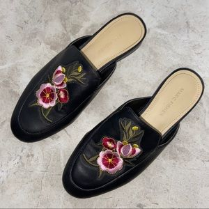 Marc Fisher Black Floral Leather Slip On Mules